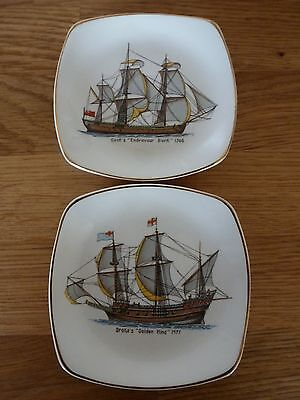 """2 Vintage Midwinter Pin Trays - Historic Ships """"endeavour Bark"""" & """"golden Hind"""""""