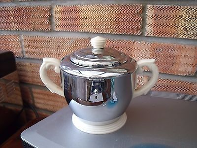 Heatmaster Ceramic Sugar Bowl with Chrome Cover & Bakelite/Plastic Base & Knob.