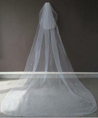 2 Tier  Crystal Chaple Veil Cut Edge  Wedding Bridal Floor Lenght Veil Ivory