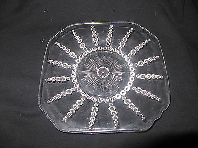 Set of Four 6 Inch Bread and Butter Columbia Pattern Depression Glass Plates.
