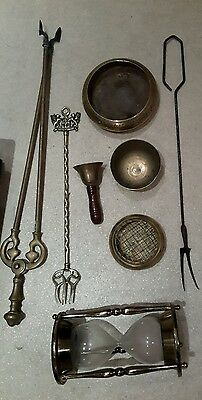 Selection of vintage brass fire companion bowls bell sand timer job lot