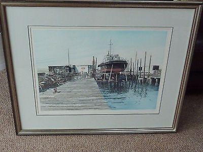 Signed Framed Ltd Edition  Print By Paul Bisson , Slipway 10 / 35