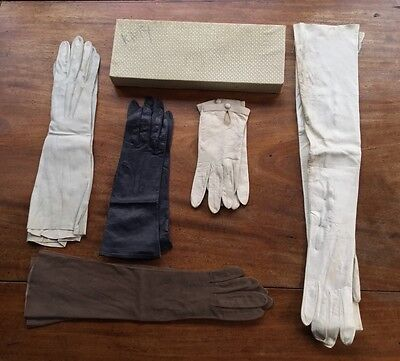 5 pairs antique,vintage,leather, kid gloves, Trefousse, Jouvir, Fownes, Dents