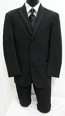 Black Perry Ellis Tuxedo Jacket with Pants, Shirt, & Tie Cheap Wedding Prom Tux