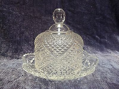 Avon Clear Glass Diamond Star Pattern Round Domed Covered Butter or Cheese Dish