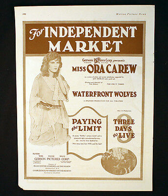 Ora Carew Waterfront Wolves Paying The Limit 3 Days To Live Ad Silent Film 1923