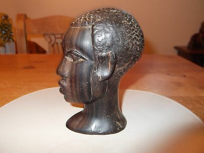 Vintage Detailed Hand Carved Hardwood Bust Of an African Tribesman