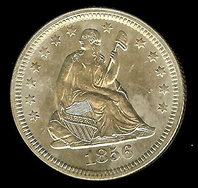 1856 SEATED LIBERTY SILVER 25 CENTS NEAR CHOICE UNCIRCULATED @@ a Beauty  @@