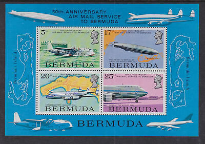 Bermuda 1975 Used Mint MLH/MNH MS Part Full Set Airmail Service Planes Airship