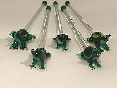 Murano Glass Cocktail Stirrers (Frogs) x 5