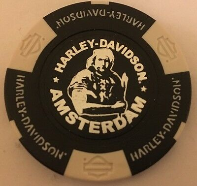 Amsterdam Harley Davidson Poker Chip (Black & White) Netherlands International