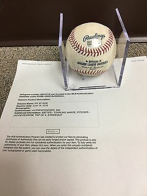 Jacob Degrom New York Mets Game Used Baseball 2016, Strikeout