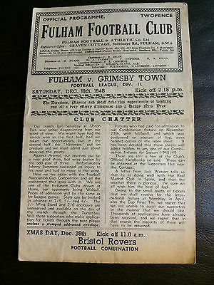 FULHAM v GRIMSBY TOWN 1948-49  FOOTBALL LEAGUE DIVISION 2