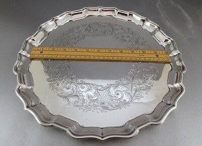 """14"""" Birks Sterling Silver Salver Or Tray! Over 32 Troy, Chased Decoration!!"""