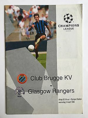 CLUB BRUGGE v GLASGOW RANGERS CHAMPIONS LEAGUE FOOTBALL PROGRAMME 03/03/1993