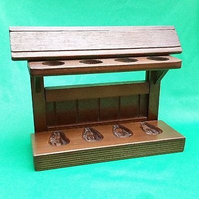 Vintage wood Pipe stand, holds 4