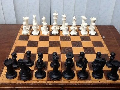Beautiful Large Chess Set And Carved Wooden Board Largest 10cm Tall