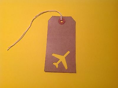 50 Luggage label gift tags - Plane Cut Out. Travel Theme. Perfect For Weddings