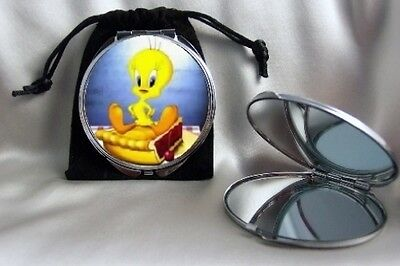 Tweety Bird on Pie Compact Mirror silvertone dual magnifying mirror with pouch