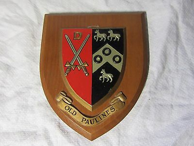 OLD PAULINES Sports Club WOODEN CREST of COAT of ARMS Old St Paul's School
