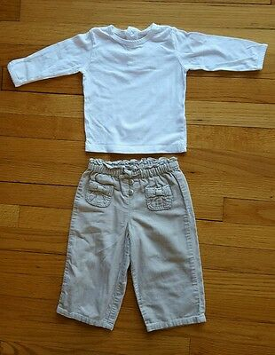 baby girl outfit, 9 mth, brown pants cater, white long-sleeved t-shirt