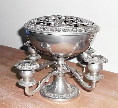 Vintage Grenadier Silver Plate 4 Candle Candelabra With Rose Bowl