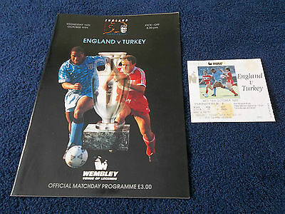 ENGLAND v TURKEY - European Championship, 16th Oct 1991,Programme,Ticket & Chart