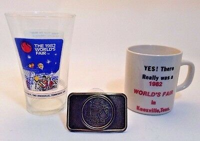 Vintage Lot (3) 1982 World's Fair Knoxville Tennessee~Belt Buckle/glass/cup