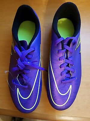 NIKE Youth's Jr Hypervenom Phade II Purple Soccer Cleats, Sz 5.5y, New