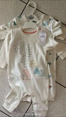 babies white mix Mark & Spencer sleepsuit size 3-6 months