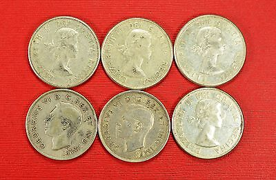 Lot of 6 Canada Half Dollar Mixed Dates Canadian Silver 50 Cents