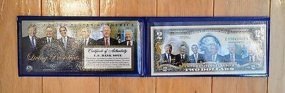 Genuine Uncirculated Two($2) Dollar Bill Colorized with  Six Living Presidents