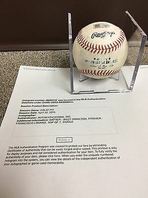 Billy Hamilton Cincinnati Reds Game Used Baseball, Single