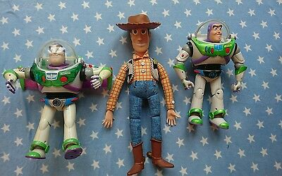 Buzz lightyear x2 woody pixar talking utility belt toy story rare collectable