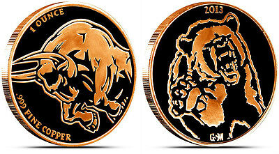 2013 Bear And Bull Copper Bullion Round .999 Fine Copper 1 Oz