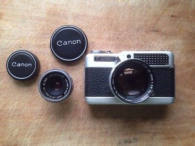 Canon Demi C - rare 35mm half frame camera complete with both lenses & case
