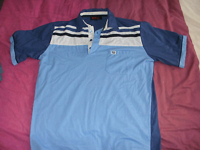 mens wilson polo shirt blue and white size medium used gc