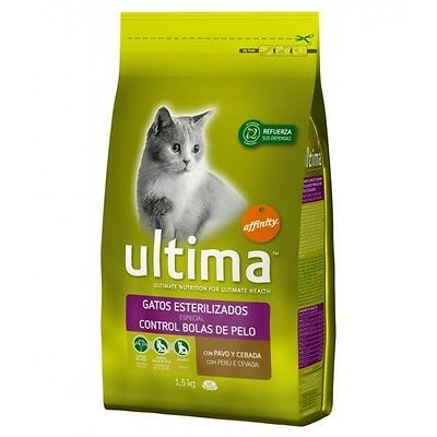 Ultima Cat Sterilized Hairball Pienso para Gatos, Comida Gatitos y Alimento Gato