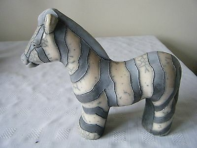 GREY STRIPED POTTERY ZEBRA HAND MADE IN SOUTH AFRICA 20cm TALL 22cm WIDE