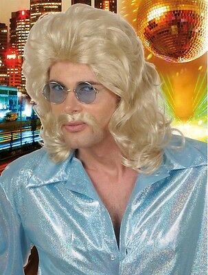70s Man Blonde Wig And Moustache Bee Gees Disco Fancy Dress