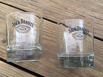 2 Jack Daniels Old No 7 Whiskey Glasses Square Low Ball Embossed Label Empty