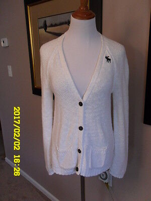 Abercrombie Kids Girls Knitted White Button-down Sweater, Size L