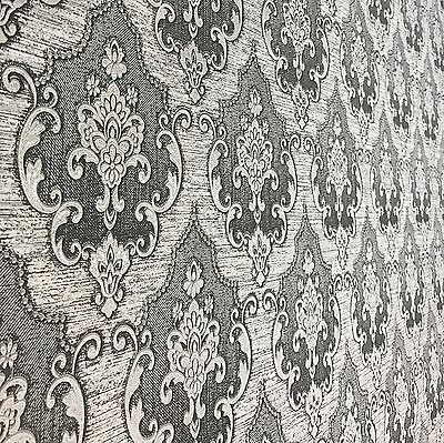 Non-Woven Wallpaper damask fabric pattern wallcovering textured roll gray damask