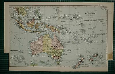 1905 Antique Map ~ Oceania Australia New Zealand Siam Sumatra Borneo Philippine