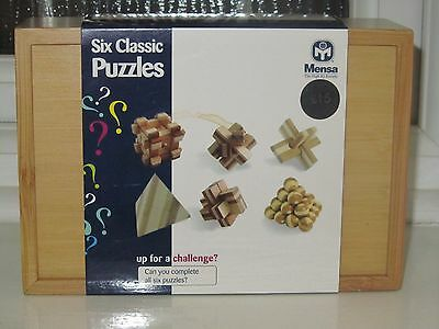 NEW! MENSA - Six Classic Puzzles - In Wooden Box with Instructions & Answers