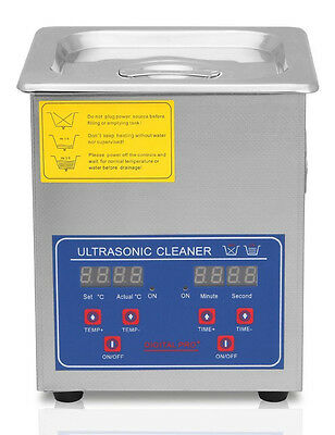 NEW Flexzion Commercial Ultrasonic Cleaner 2L Industrial w/ Digital Heater Timer
