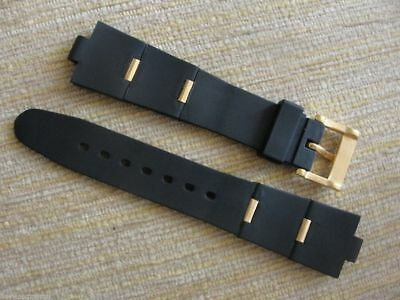 Black Rubber Watch Band Strap Yellow Gold Clasp Links FIT/BVLG Diagono 21mmX8mm