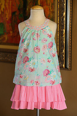 ROOM SEVEN Girls SUMMER Twirl Skirt & Top Set Size 6 7 8 NWOT