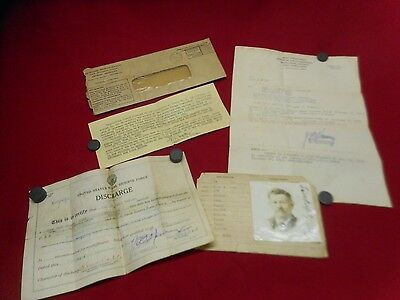 4 Original WWI Era Documents US Navy Honorable Discharge Enrollment Photo 1918+