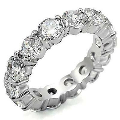 4 TCW 925 Sterling Silver Round CZ Eternity Bridal Wedding Ring Band Size/s 5-10